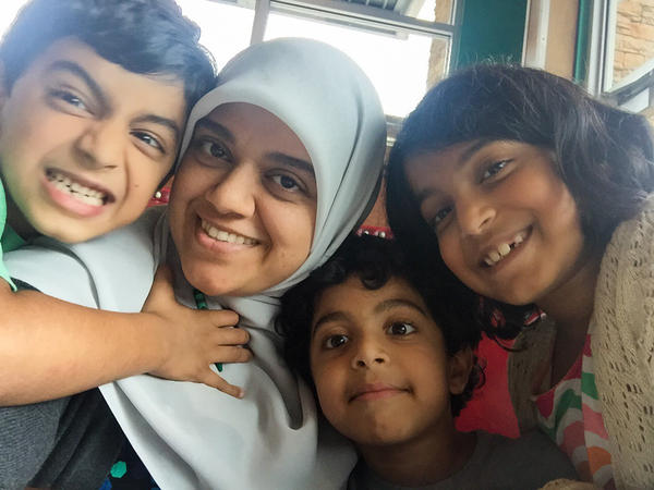 Saira Siddiqui and her children.