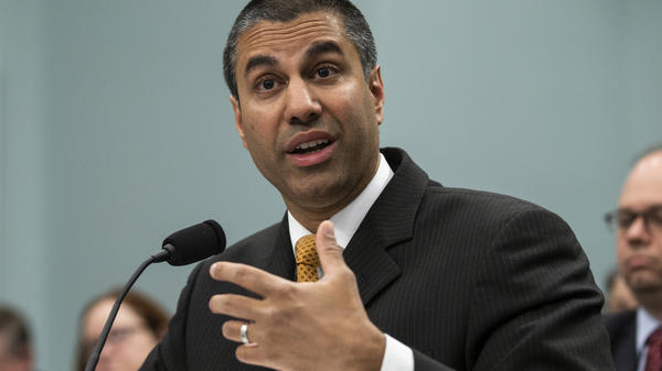 """The Internet wasn't broken in 2015,"" FCC Chairman Ajit Pai says, referring to the year when net neutrality rules were adopted. Pai is seen here speaking to the House Appropriations Committee earlier this year."