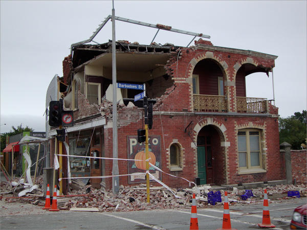Brick or unreinforced concrete buildings could crumble in an earthquake, like this one in Christchurch, New Zealand, in 2011.