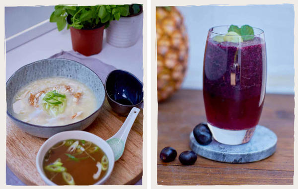 Left: shredded chicken and ginger congee. Right: a grape slushy. Both recipes come from Peter Morgan-Jones, executive chef at the HammondCare Foundation in Australia. He believes the visual impression a food makes is essential.