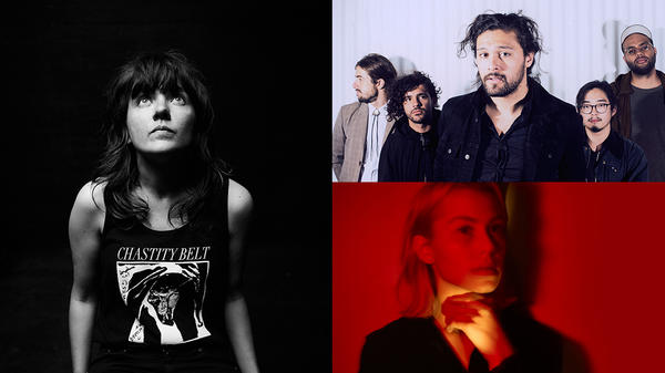 Clockwise from left: Courtney Barnett, Gang of Youths, Phoebe Bridgers (photo by Frank Ockenfels).