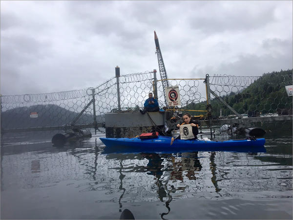 Protesters blocked a marine gate at Kinder Morgan's Westridge Terminal in Burnaby, B.C., on Wednesday.