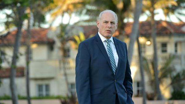 White House chief of staff John Kelly is pictured at President Trump's Mar-a-Lago resort in Palm Beach, Fla., last month.