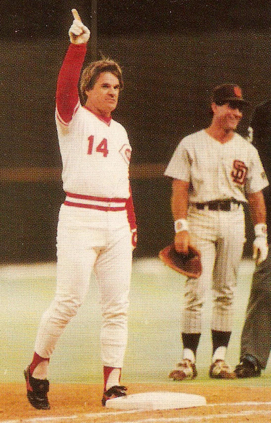 Pete Rose immediately after breaking Ty Cobb's record of 4,191 career base hits.