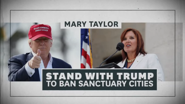 President Trump appeared prominently in an ad for Republican gubernatorial candidate Mary Taylor.