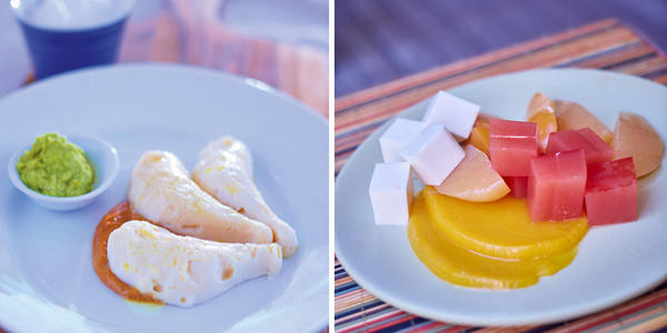 Swallowing disorders are becoming more common. Some chefs are now whipping up nutritious recipes that are not only easy on the throat, but help restore the joy of eating. Left: Pureed satay chicken with edamame, shaped into the form of a drumstick. Right: Pureed fruit and yogurt set with agar agar — Australian chef Peter Morgan-Jones calls it an ideal finger food for those with dysphagia.