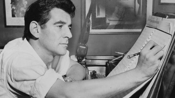 Leonard Bernstein composing in 1955.