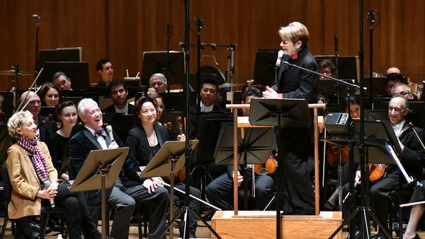 NPR's Scott Simon interviews Baltimore Symphony Orchestra conductor Marin Alsop and Jamie Bernstein, seated left, on May 5, 2018.
