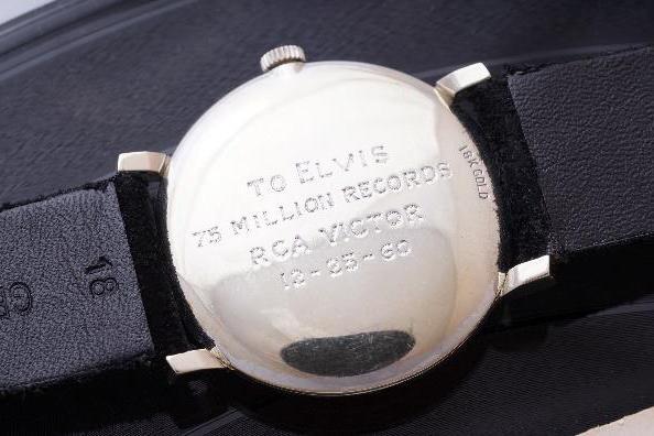 The watch's inscription commemorates Elvis's record sales.