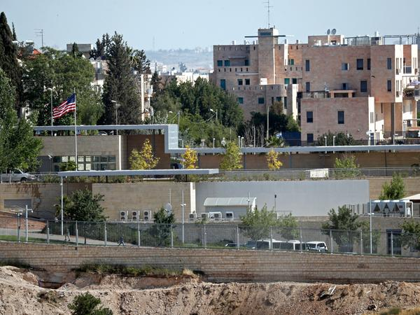A partial view taken on April 30 shows the U.S. consular building in Jerusalem.