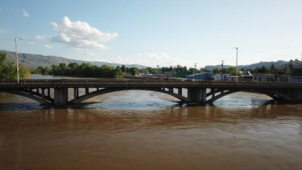 High waters on the Okanogan River in the city of Omak, Washington.