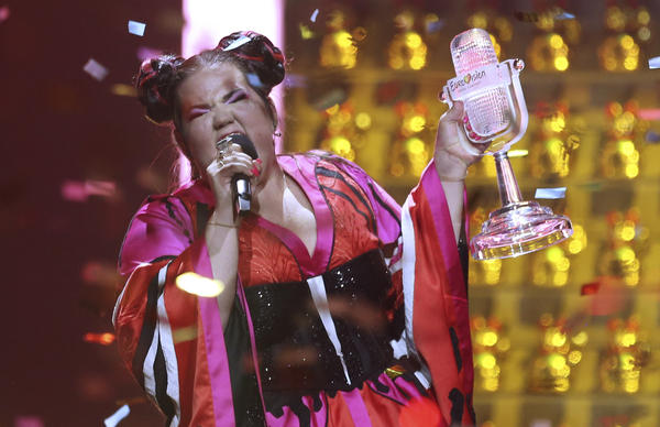 Netta, representing Israel, celebrates her win in Lisbon, Portugal, Saturday, during the Eurovision Song Contest grand final.