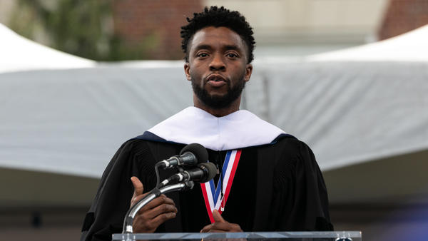Actor and alumnus Chadwick Boseman delivers the keynote address at Howard University's commencement ceremony for the 2018 graduating class. Boseman received an honorary degree, Doctor of Humane Letters. (Photo by Cheriss May) (Photo by Cheriss May/NurPhoto via Getty Images)