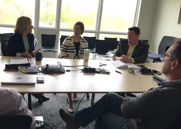 Sen. Maggie Hassan hears from employees of Stonyfield Farms and members of New England's farming community about how the repeal of net neutrality rules would affect their business