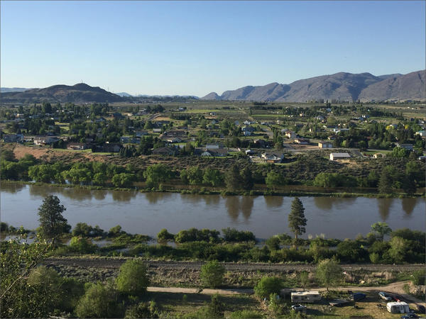 A view of Omak, Washington. The water level on the Okanogan River near is rising after a weekend of summer-like temperatures rapidly melted snow at high elevations in Okanogan County and in Canada to the north.