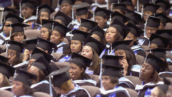Graduates of Spelman College during commencement ceremonies on May 19, 2002.