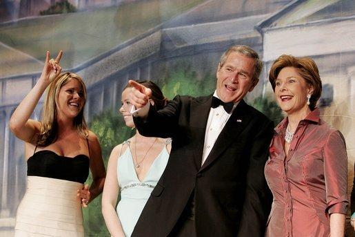 George W. Bush -- with daughters Jenna and Barbara, and wife Laura -- at his 2005 inaugural ball in D.C.