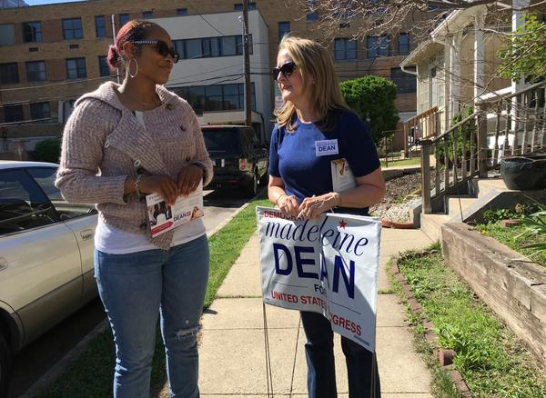 Madeleine Dean, a candidate for Congress, talks to voter Bisa Bullock in Norristown, PA.