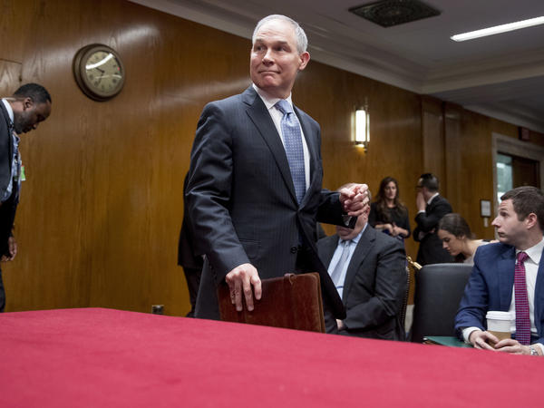 Scott Pruitt, administrator of the Environmental Protection Agency, arrives for his testimony Wednesday before the Senate subcommittee on the Interior, Environment, and Related Agencies.