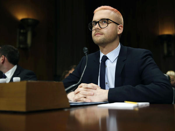 Christopher Wylie, former Cambridge Analytica employee, prepares to testify before the Senate Judiciary Committee on Wednesday.
