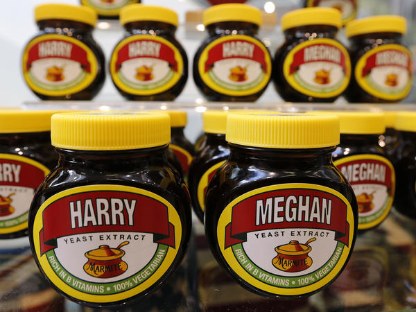 A supermarket in Windsor, England, sells Marmite bearing the names of Harry and Meghan. Marmite is a traditional English spread.