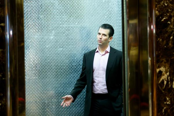 Donald Trump Jr. arrives at Trump Tower in New York for meetings with then-President-elect Donald Trump on Nov. 17, 2016.