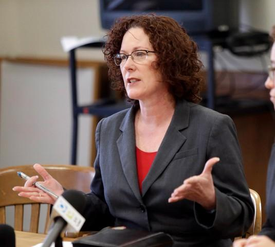 <p>In this 2016 file photo, former Oregon Rep. Val Hoyle announced her campaign for Oregon secretary of state.</p>