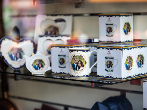 Royal wedding memorabilia sits on display in a shop window in Windsor, England.