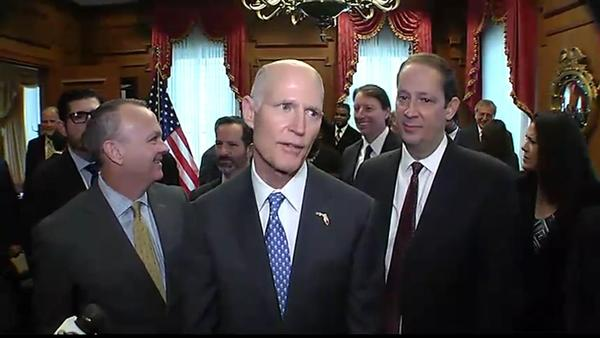 Gov. Rick Scott (center) with House Speaker Richard Corcoran (left) and Senate President Joe Negron (right)