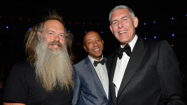 Lyor Cohen in attendance with producer Rick Rubin and hip-hop godfather Russell Simmons at induction of famed Def Jam act Public Enemy into the Rock and Roll Hall of Fame in 2013.