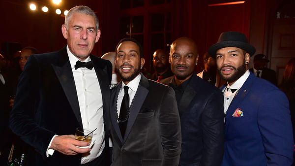 Lyor Cohen in attendance at Rick Ross' 40th birthday party in Fayetteville, Georgia with Ludacris, Big Tigga and a guest in 2016.