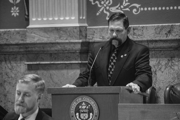 Sen. Randy Baumgardner on the senate floor on April 20, 2018.