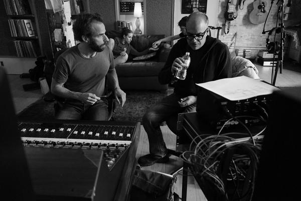 """Dean Sharenow (left) and David Yazbek during a cast recording for """"The Band's Visit."""" (Courtesy Susan Stava)"""