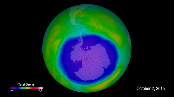 An image provided by NOAA shows the hole in the ozone layer in 2015. NOAA scientists now say emissions of one ozone-depleting chemical appear to be rising, even though the chemical has been banned and reported production has essentially been at zero for years.