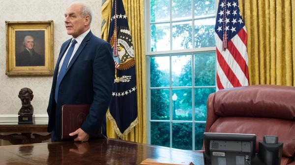 White House chief of staff John Kelly in the Oval Office of the White House Thursday. Kelly's recent comments about undocumented immigrants struck a nerve and inspired the hashtag #heyjohnkelly.