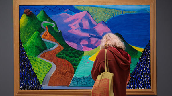 A visitor examines Pacific Coast Highway and Santa Monica by David Hockney at Tate Britain in London last year.