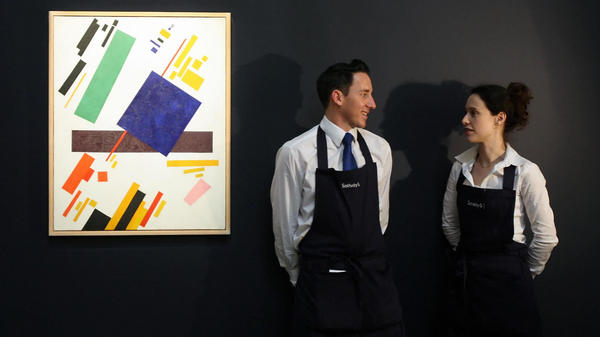 <em>Suprematist Composition</em> by Kazimir Malevich is displayed at the Sotheby's auction house in London in 2008. it set a record for the artist this month, selling at a Christie's New York auction for $86 million.
