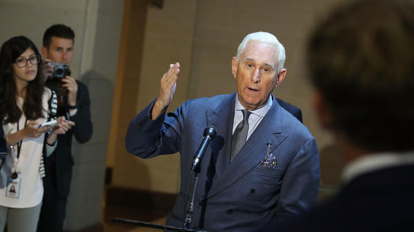 Roger Stone speaks to the media after appearing before the House intelligence committee in a closed-door hearing on September 26, 2017, in Washington, D.C.