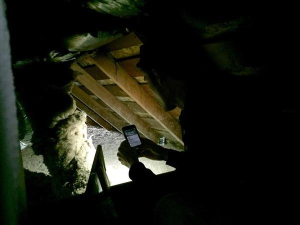 <p>Peter Kernan of Enhabit measures insulation in the knee wall of the house.</p>