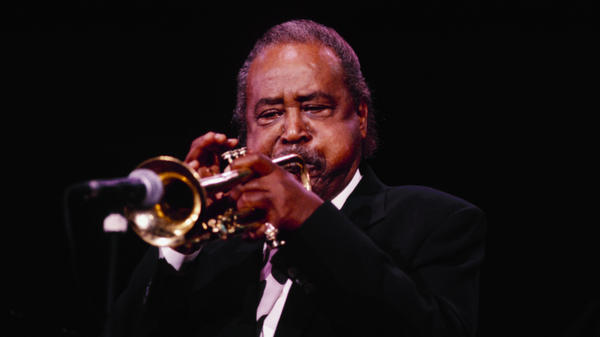 American jazz trumpeter Harry 'Sweets' Edison performs in 1991.