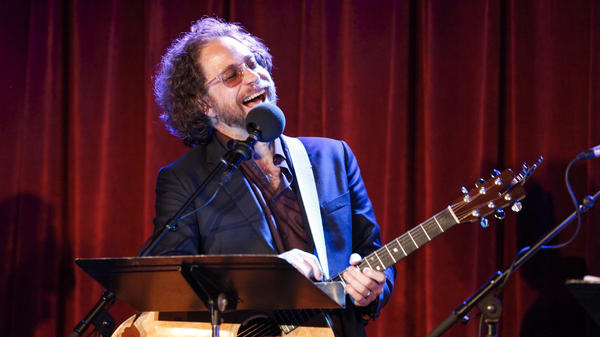 House musician Jonathan Coulton performs on Ask Me Another at the Bell House in Brooklyn, New York.
