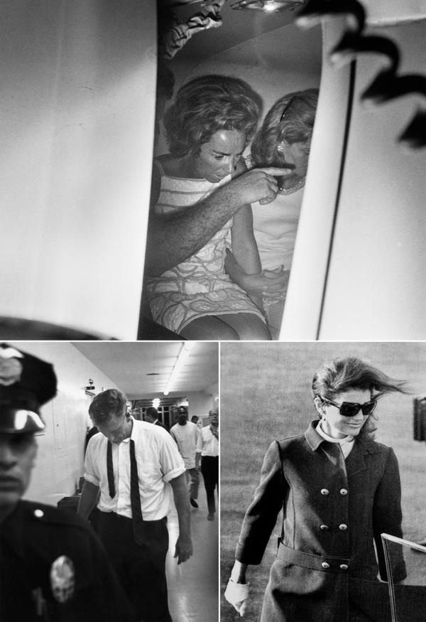 (Top) Ethel Kennedy in the back of an ambulance that took her husband, Robert, to the hospital after he was shot at the Ambassador Hotel. (Left) Kennedy's bodyguard Bill Barry at the hospital. (Right) Former first lady Jacqueline Kennedy at Los Angeles International Airport going to visit her brother-in-law after he was shot. Kennedy died the next day from his injuries.