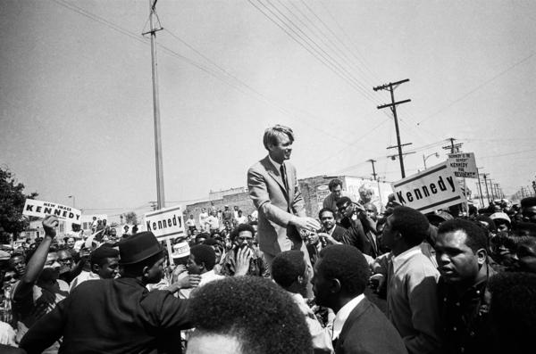Kennedy campaigns in the Watts section of Los Angeles in 1968.