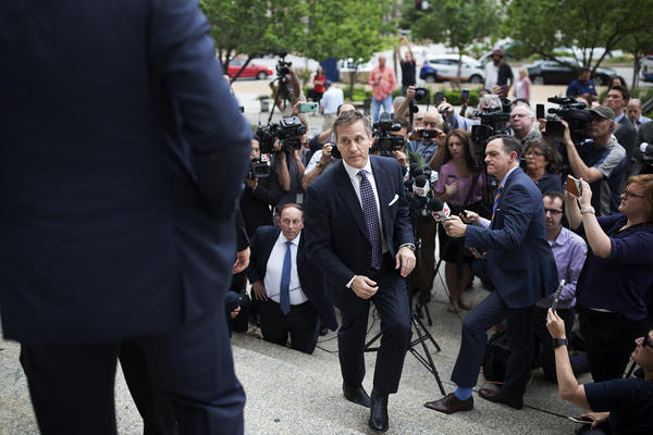 Gov. Eric Greitens walks away from reporters after making a statement Monday outside the Circuit Court building in downtown St. Louis.