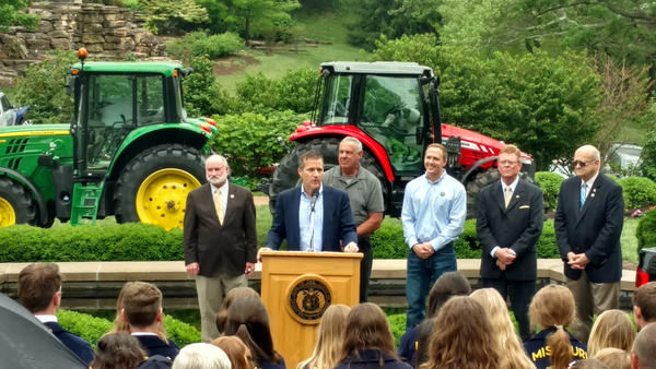 "Missouri Gov. Eric Greitens speaks Thursday in Jefferson City to a group of mostly farmers and students about what he called ""rip-off artists"" who were out to get him."