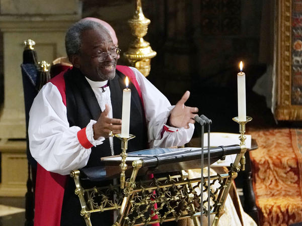 Bishop Michael Bruce Curry delivering the sermon during the wedding ceremony of Britain's Prince Harry, Duke of Sussex and US actress Meghan Markle in St George's Chapel, Windsor Castle.