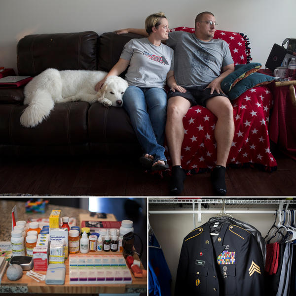 (Top) Britnee Kinard's husband, Hamilton, has a brain injury and PTSD. She got kicked off the program by the Charleston VA in 2014. (Left) Hamilton's daily medication. (Right) His uniform in the closet at their home in Richmond Hill, Ga.