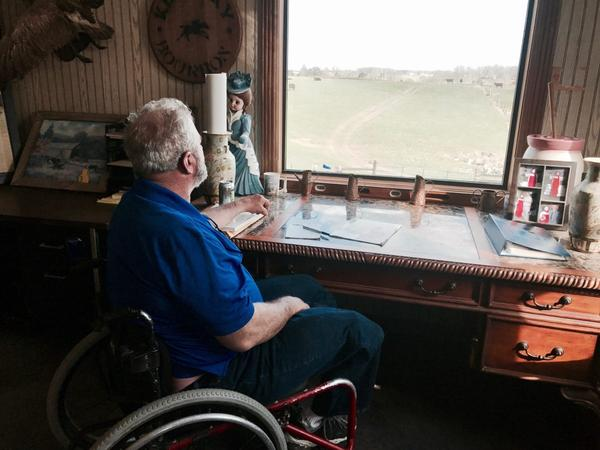 Gary Rock looks out over his dairy farm in LaRue County, Kentucky. Rock says his farm's days are numbered.