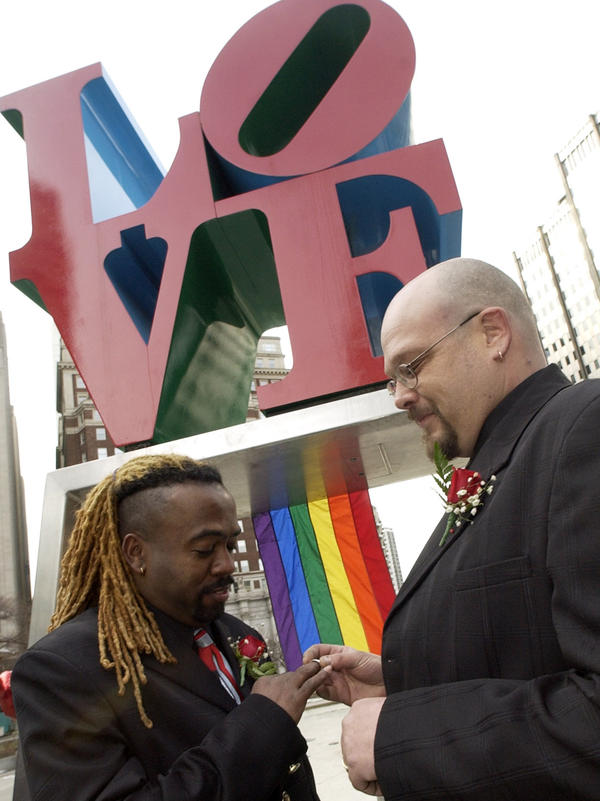 In 2004, the Rev. Jeffrey Jordan, left, and David Pickett exchanged vows at a same-sex commitment ceremony in Philadelphia's LOVE Park — officially known as John F. Kennedy Plaza.