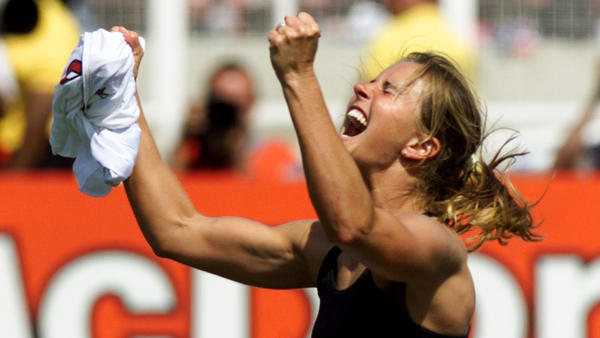 Brandi Chastain after scoring the game-winning goal in the penalty shootout in the 1999 World Cup Final.